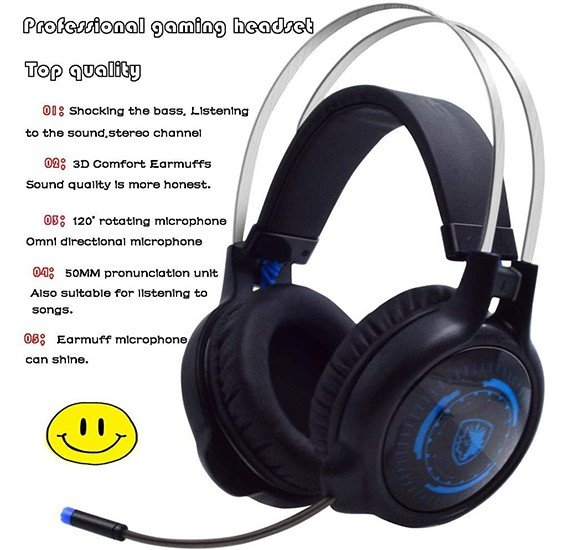 G50 Lightweight Portable Fold-Flat Stereo Bass Gaming Headphones for PC MP3//4