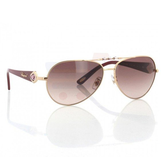Chopard Oval Copper Gold Frame & Grey Mirrored Sunglasses For Unisex - SCH997S-08FC