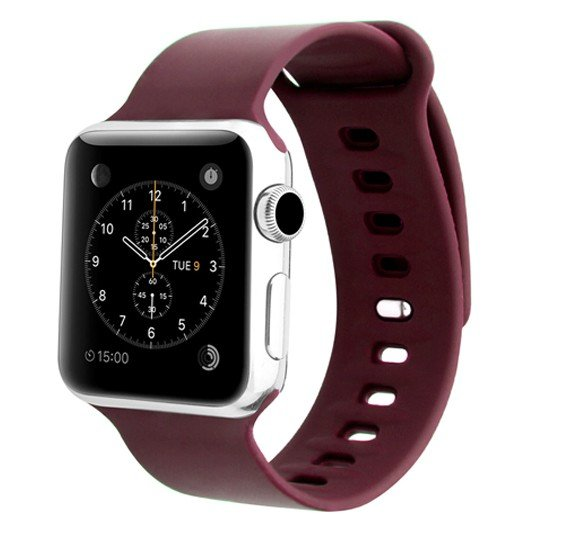 Promate Rarity-38SM Silicone Apple Watch 38mm/40mm Strap, Maroon
