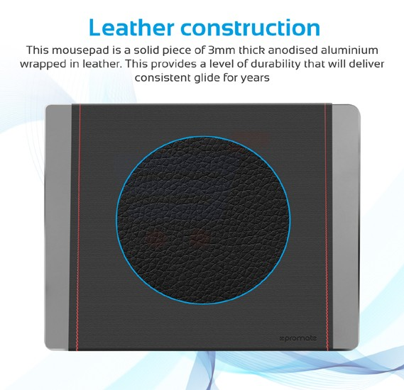 Promate Mouse Pad, Premium Leather-Wrapped Anodized Aluminum Mouse Pad with Non-Slip Rubber Base for Fast Accurate Control and Large Working Area for Laptops, PC, Desktops, MetaPad-Pro.Grey