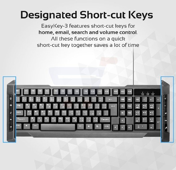Promate Wired Keyboard and Mouse Combo, Ultra-Sleek USB Wired Full-Sized Keyboard and Mouse Combo with Comfortable Quit 104 Keys and Multimedia Keys Character for iOS, Windows, PC, EASYKEY-3.BLK/AE