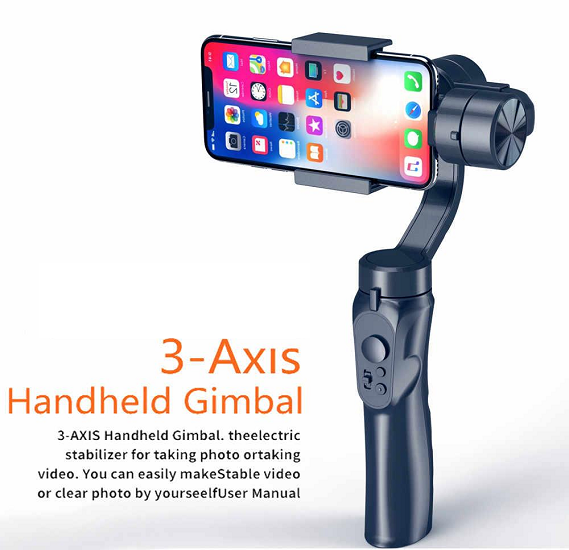 3-Axis Handheld Smartphone Gimbal Stabilizer for Apple IPhone devices and Android mobile Sports Cameras