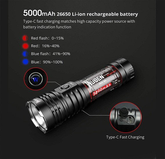 Wuben T70 4200 Lumens Cree XHP70.2 Led Rechargeable Led 26650 High Performance Flashlight For Outdoor And Camping Activities With Battery And Skyben Usb Light