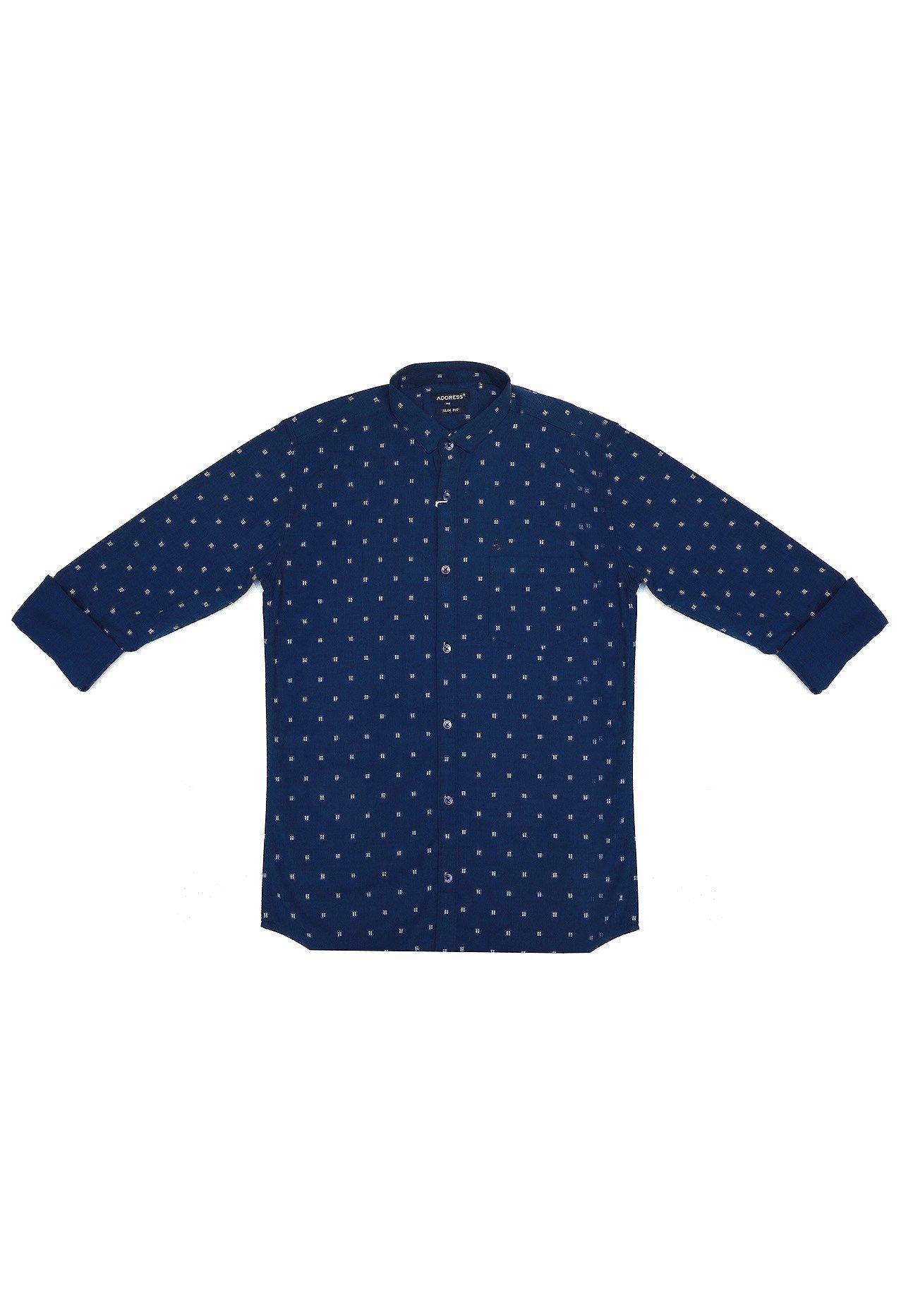 Address Casual Shirt Blue With Dots Slim Fit, AC19JU 9572 B