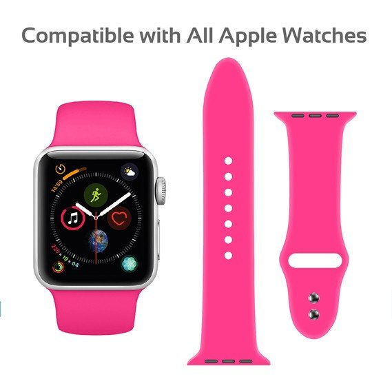 Promate Oryx-38ML Sport Silicone Apple Watch 38mm/40mm Strap, Pink