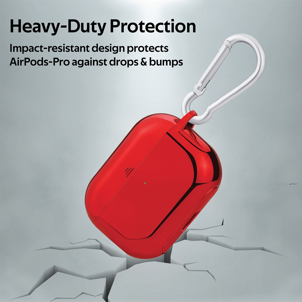Promate AirPods Pro Case, Lightweight Impact-Resistant Electroplated TPU Slim-Fit Protective Cover with Wireless Charging Compatible, GLOWY-PRO.RED