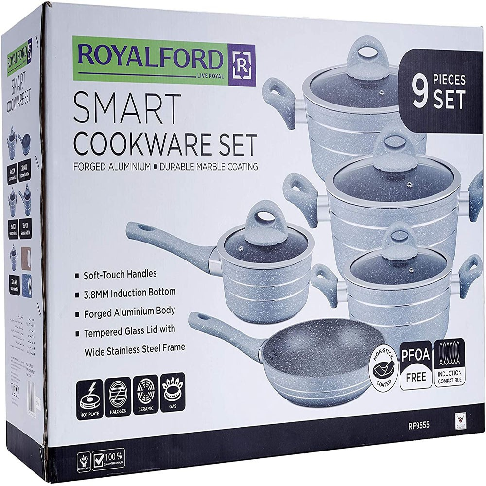 Royalford Smart Forged Aluminium Cookware Set 9 Pieces Scratch Resistant Tempered Glass Lids 2.5MM Body Thickness Bakelite Knobs and CD Bottom,  RF9555