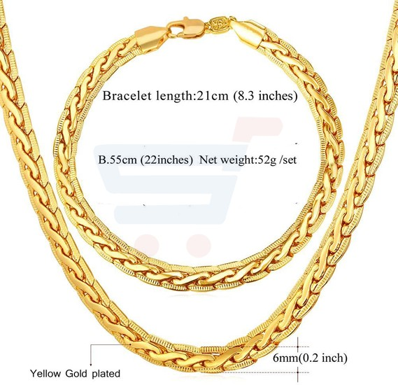 18k Real Gold Plated Chunky Necklace Bracelet For Men