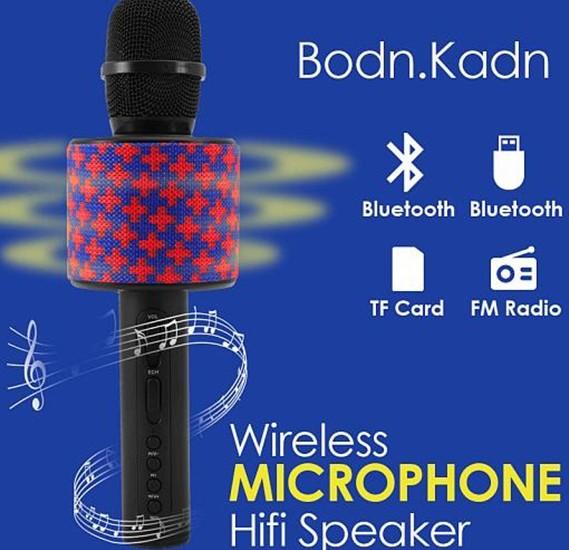 Nylon Braided Multi Design Handheld KTV Wireless Microphone Hifi Speaker Supports FM Radio, Karaoke, USB & TF Card