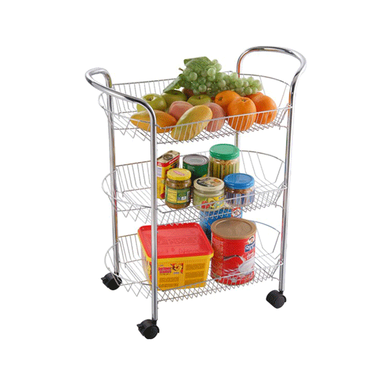 3 in 1 Kitchen Utility Combo,Kitchen Trolley 3 tier Round Dc-983c,Royalford 7pc Cookware Set -Stainless Steel with Designery Kitchen Apron