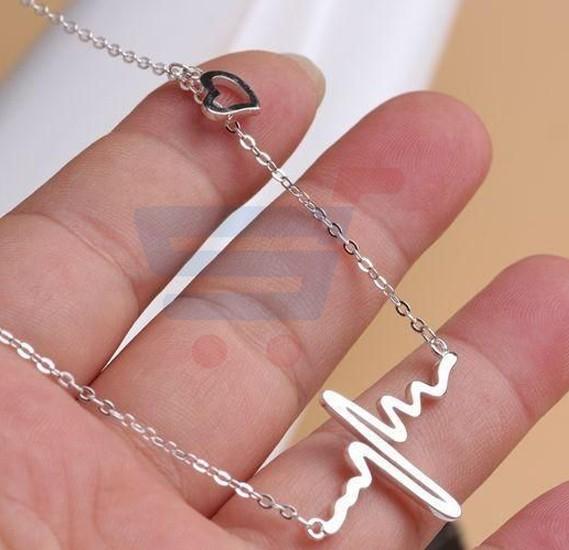Womens Heartbeat Shape Pendant Necklace Silver