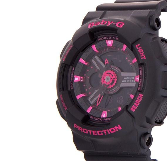 Casio Baby-G BA-111-1ADR Analog Digital Ladies Black Pink Sport Watch