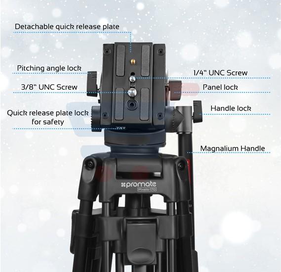 Promate Video Tripod Pixels-170  Professional 170cm Heavy Duty Aluminium Video Tripod with Mid-Level Spreader