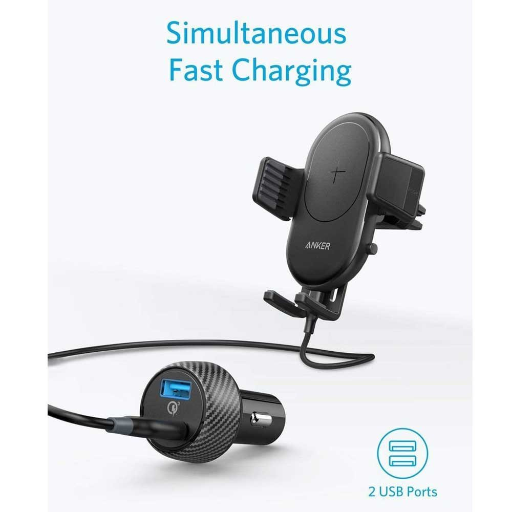 Anker PowerWave 7.5 Car Charger With Air Vent Phone Holder Black, B2551H13