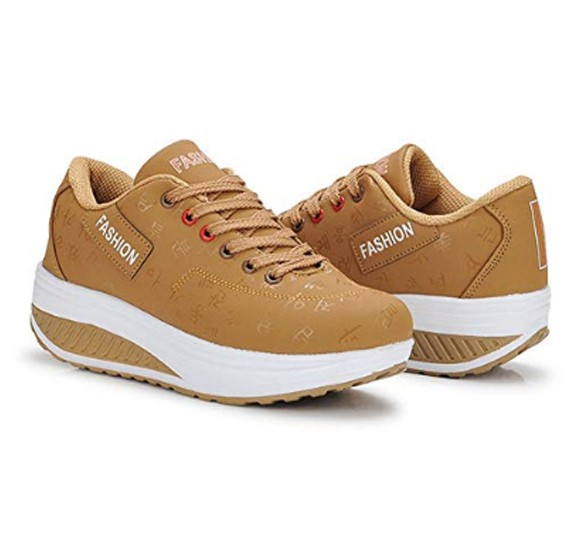 Women Sneakers Walking Shoes with Thick Soles- Light Brown 38 SH17
