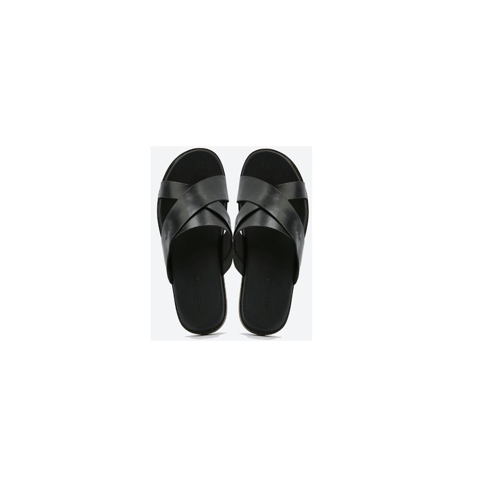 Hush Puppies Mens Slipper Black Leather, HM02052-007