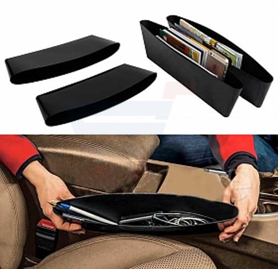 Black Magic Leather Car Organizer - Black 2 Pcs Set