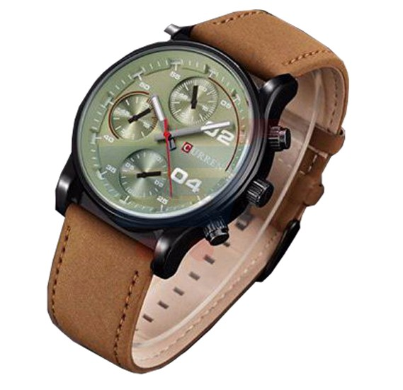 Curren  Brown Strap Watch For Men, M 8207