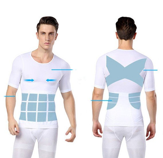 Just One Shapers Seamless Slimming Shirt for Men ( White ) XXL/XXXL