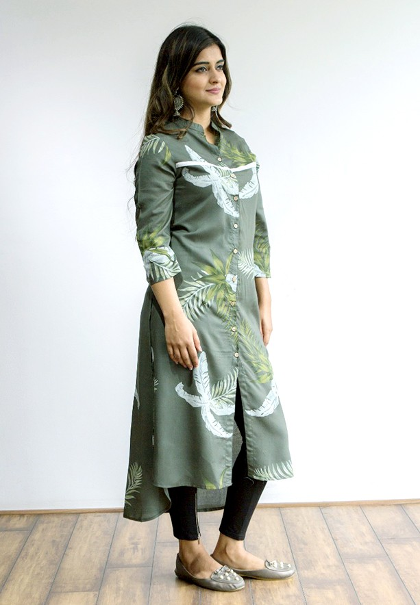 Ruky Fareen Women Long Top Flair Kurti Full Sleeve, RF 231 - M