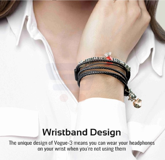 Promate Wristband Earbuds, Premium 3.5mm Leather Braided Pandora Beads Bracelet Style with Built-in Mic, Tangle Free Cord, Noise Cancelling and Magnetic Closure for Smartphones, Tablets, iPod, MP3, Laptop, Vogue-3.Black