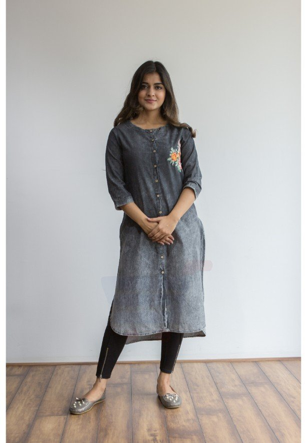 Ruky Fareen Denim Embriodery Design Women Long Top Kurti Full Sleeve - RF 206 - XL