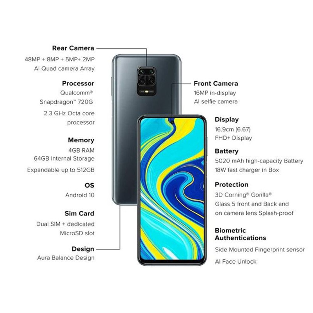 Xiaomi Redmi Note 9 Pro Dual SIM 6GB RAM 128GB 4G LTE- Interstellar Black