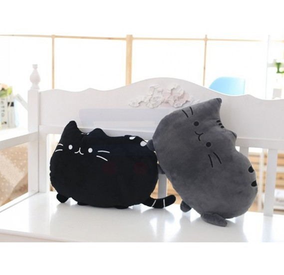 Eazy Kids Plushy Cat Pillow Grey