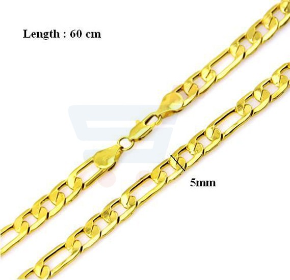 18K Gold Plated Necklace Chain For Men 24 Inch