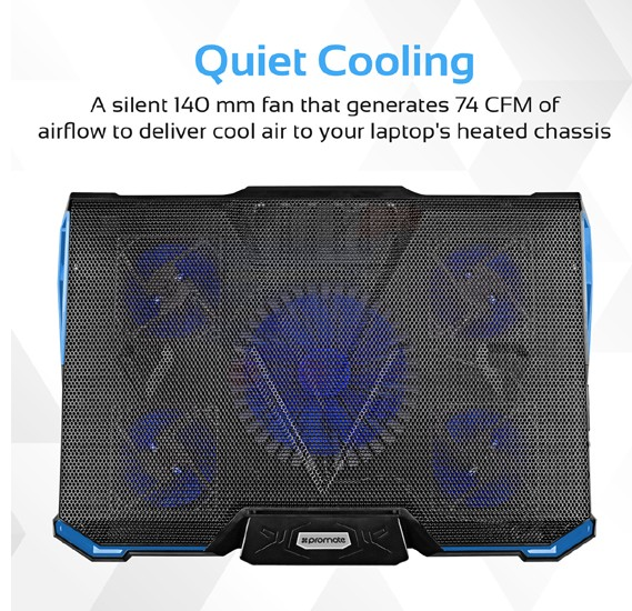 Promate Laptop Cooling Pad, High-Speed Laptop Cooling Pad with 5 Quiet Cooling Fan, Dual USB Port, Adjustable Height, LED Speed Display, Cable Organizer and Ani-Slip Grip for Laptops and USB Powered Devices, AirBase-2.Black