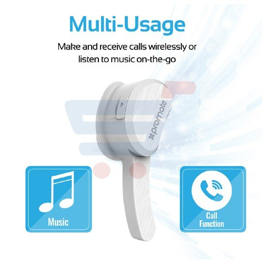 Promate Bluetooth Earphone, Ultra-Light Multi-Point Pairing Hands-free Earphones Wireless Mono Bluetooth Headphone with Mic for Smartphones, Tablet, Laptop, Aural White
