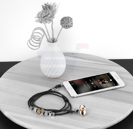 Promate Stereo Earphone, Leather Braided Special Beads Bracelet Style with Magnetic Closure, Built-In Mic, Passive Noise Cancelling and Tangle Free Cord for Smartphones, Tablets, iPod, MP3, Laptop, Vogue-2.Black