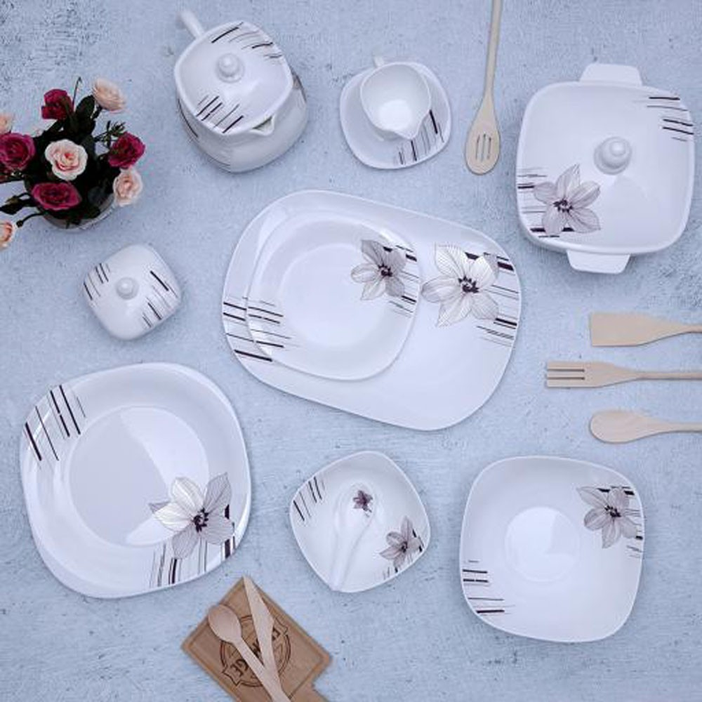 Royalford 97Pcs Opal Hard square Dinner set, RF9759