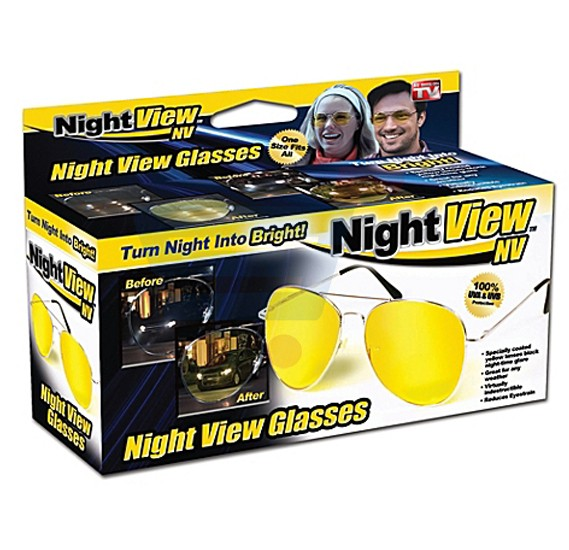 Night View Yellow Polycarbonate Aviator Style Glare Reduction Glasses