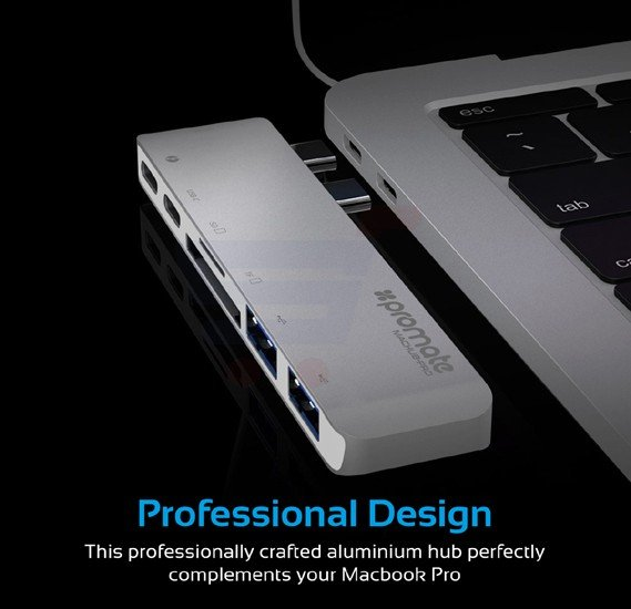 Promate Thunderbolt 3 USB-C Hub, High-Speed Aluminum Type-C Adapter Pass-Through Charging Hub with 40Gbs Thunderbolt 3, 4k HDMI Port, SD/Micro SD Card Reader and 2 USB 3.0 Ports for MacBook Pro 13 Inch and 15 Inch, MacHub-Pro.Silver