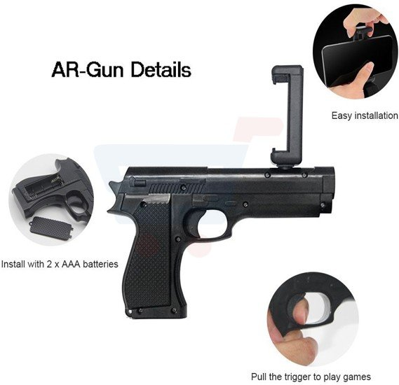 AR Games Gun Augmented Reality Pistol Bluetooth Controller with Cell Phone Stand Holder Portable Hand Game for all mobile