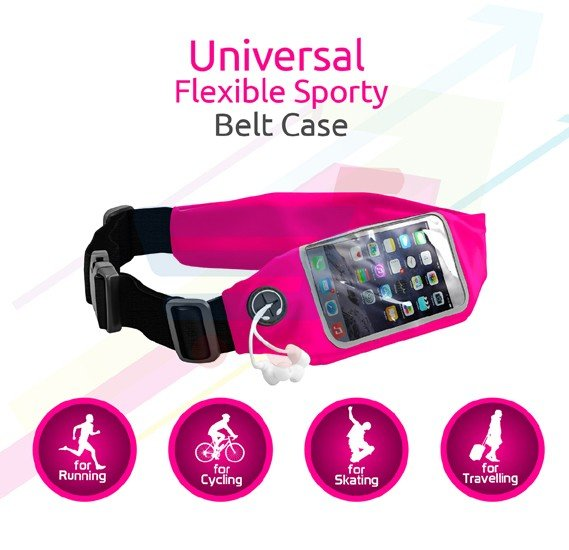 Promate Sports Running Belt Waist Pack with Touch Screen Window for Smartphones, LIVEBELT-2.PINK