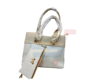 Susan Fashion Luxury Women Hand Bag with Wallet Leather-White SU8001