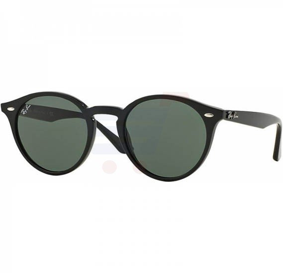 Ray-Ban Round Black Frame & Grey Green Mirrored Sunglasses For Unisex - RB2180-601-71-51