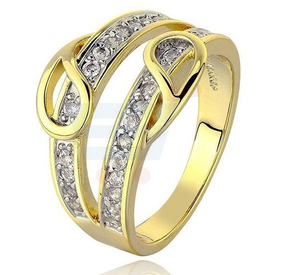 18k Gold Plated High Grade Zircon Ring Jewelry US8 For Women