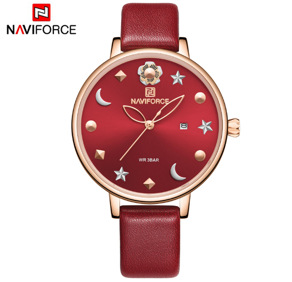 Naviforce NF5009 Moon Star Design Casual Style Women Wrist Watch Waterproof - Red
