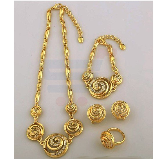 18k Real Gold Plated Swarovski Rhinestone Peru Jewelry Set For Women