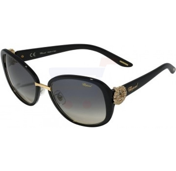 Chopard Oval Shiny Black Frame & Grey Gradient Mirrored Sunglasses For Women - SCH186S-0700