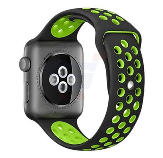 Silicone Strap Wristband For Nike Apple Watch 42MM Band - Black Green