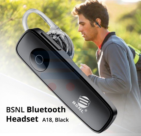 BSNL Bluetooth Headset A18, Black