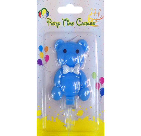 Party Time Bear Blue Candle G550-A