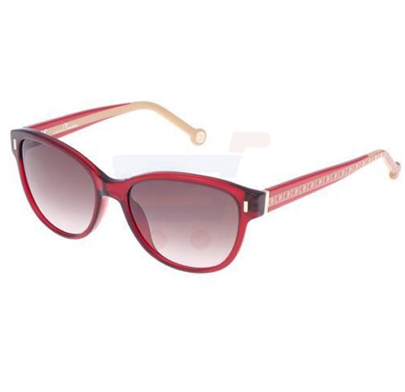 Carolina Herrera Round Red Frame & Gradent Black Mirrored Sunglasses For Women - SHE574-0954