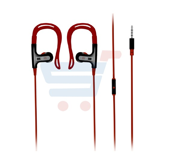 Promate 3.5mm Stereo Sports Running Clip-on Earbuds, Headsets with Mic and Remote Control for iPod, Smartphones - Glitzy.Red