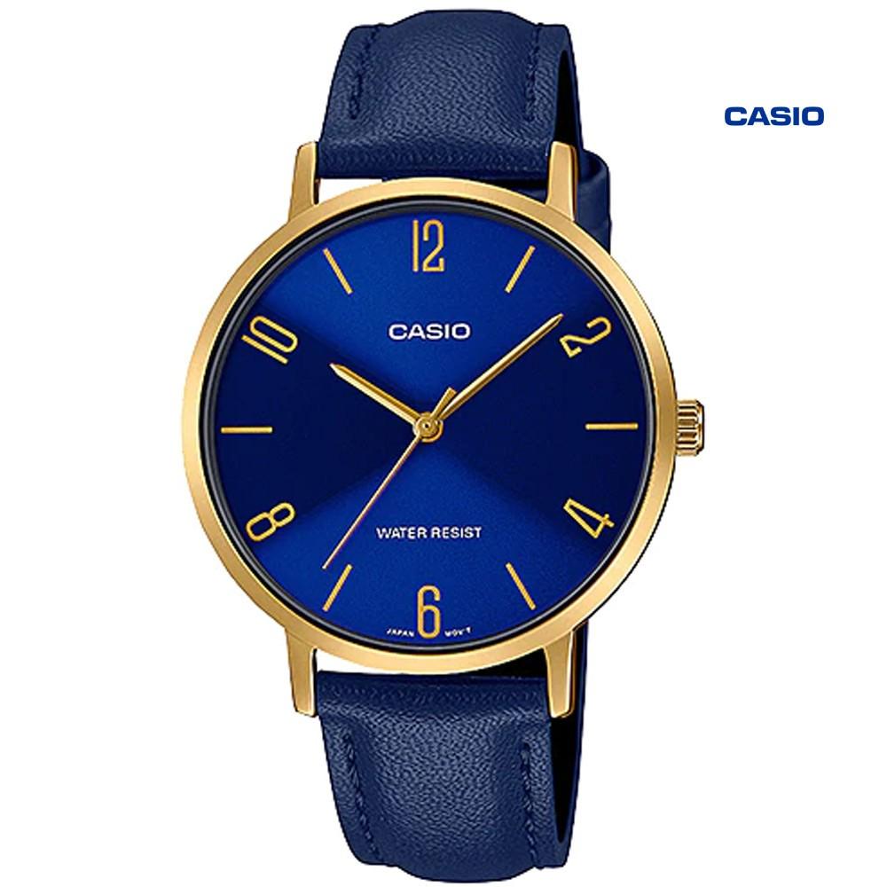 Casio Analog Leather Blue Dial Men Watch, LTP-VT01GL-2BUDF