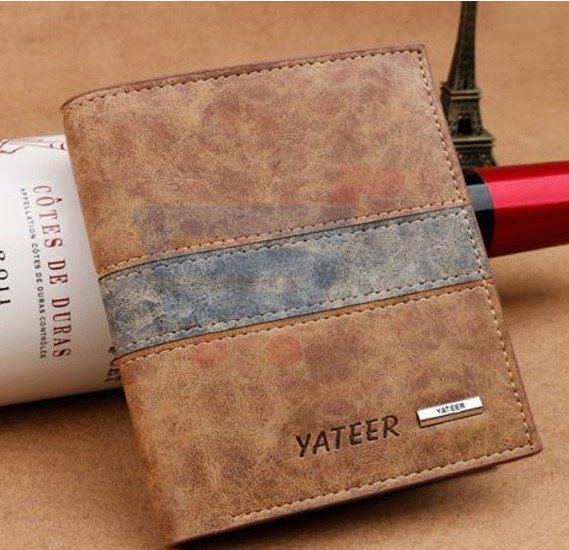 Yateer Brown Leather Clip wallet For Men